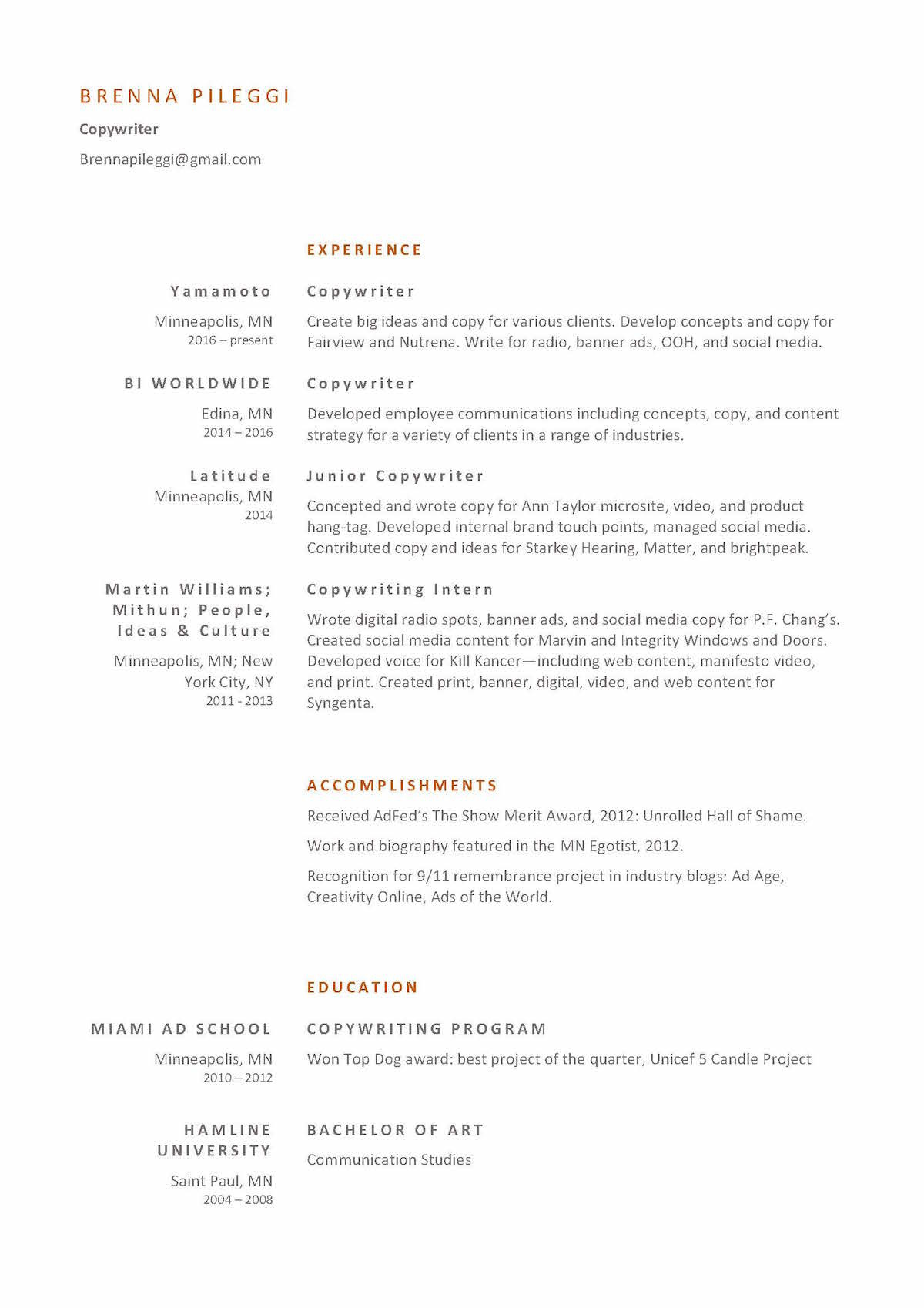resume copywriter brenna - Sample Ad Copywriter Resume