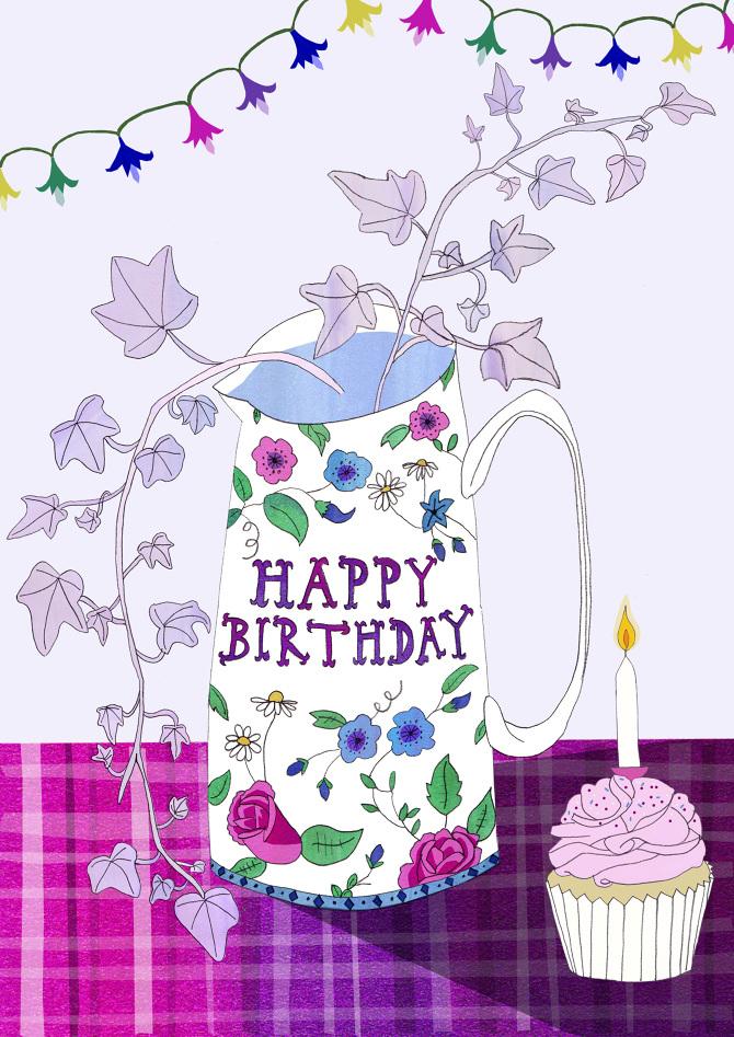 Happy Birthday Greetings Card Lisa Rockall Illustration